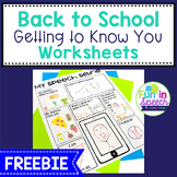 Back to School - Getting to Know You FREE Worksheets for Speech Therapy