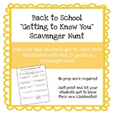Back to School Getting to Know You Scavenger Hunt **No Prep Work Required**