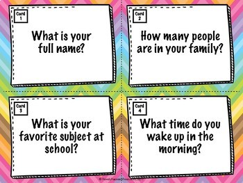 Back to School Getting to Know You - Task Cards