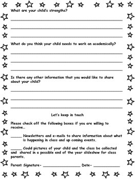 Free Back to School Getting to Know Your Child