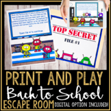 Back to School Getting to Know you Escape Game First Day of School #bts1deals
