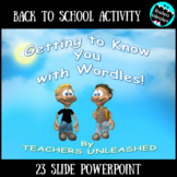 Back to School Getting to Know you Wordle Activity