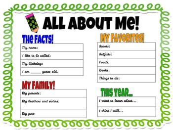 Back to School:  Getting to know me!
