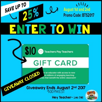 Back to School Gift Card Giveaway: Enter to Win a $10 TpT Gift Card (FREE)