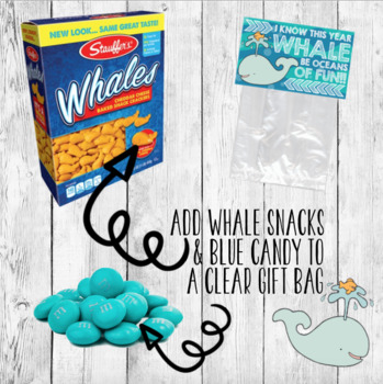 Back to School Gift Label/ Student Favor/ Whale Ocean Sea/ Bag Tag Treat Topper