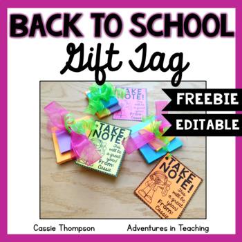 Back to School Gift Tag- FREEBIE