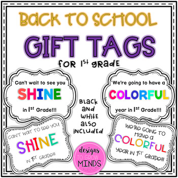 Back to School Gift Tags- 1st Grade