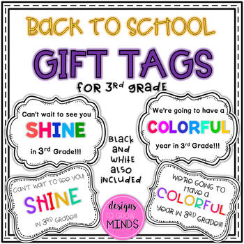 Back to School Gift Tags- 3rd Grade