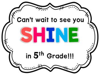Back to School Gift Tags- 5th Grade