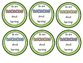 Back to School Gift Tags:  Bananas About Learning!----FREEBIE!
