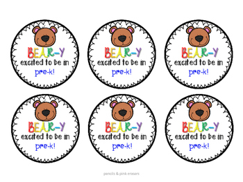 Back to School Gift Tags: Beary excited to be in...