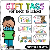 Back to School Gift Tags (English & Spanish)