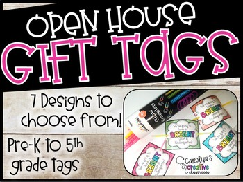Back to School Gift Tags - Great for Open House!