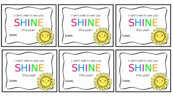 Back to School Gift Tags-I can't wait to watch you SHINE!