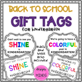 Back to School Gift Tags- Kindergarten