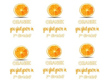 """Back to School Gift Tags """"ORANGE You Glad..."""""""
