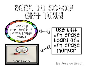 Back to School Gift Tags for Students!