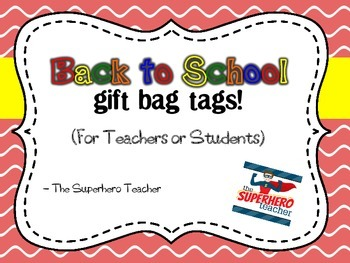 Back to School Gift bag tags for Teachers or Students