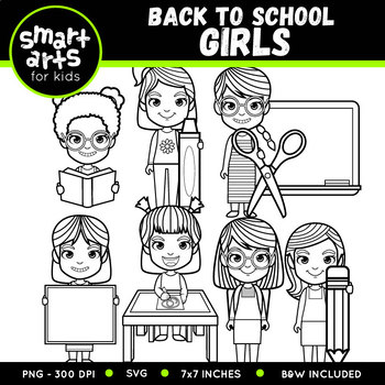 Back to School Girls Clip Art