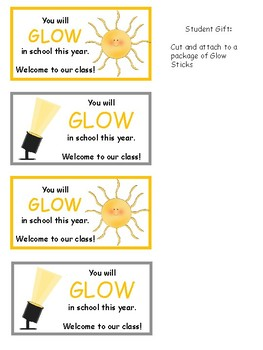 Back to School Glow Stick Gift Tag