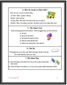 Back to School Glyph - Reading and Following Directions, Interpreting Data