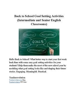 Back to School Goal Setting Activities/Mini Unit