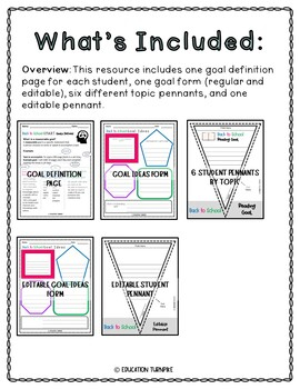 Back to School Goal Setting Packet