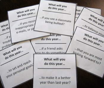Back-to-School Goals Card Set Group or Homeroom Activity