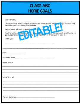 Back to School Goals with Editable Parent Letter