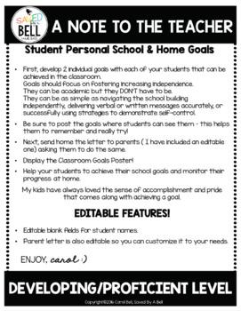 Goals with Editable Parent Letter