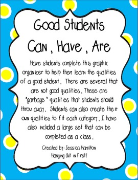Back to School: Good Students Can/Have/Are Sort FREEBIE!