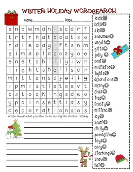 Free Holiday Winter Wordsearch