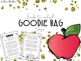 Back to School Goodie Bag Tags - Printer Friendly