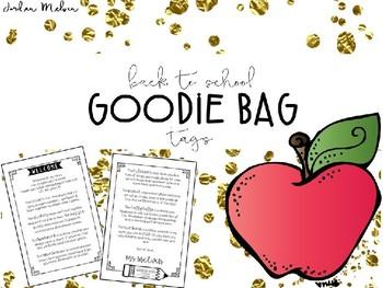 Back to School Goodie Bag Tags - Printer Friendly