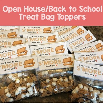 Back to School Goodie Bag Treat Toppers - Camping Theme Smores - Fits on Ziplock