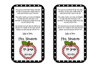 Back to School Goody Bag Tags