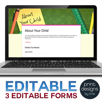 Back to School Google Interactive Paperless Parent Forms
