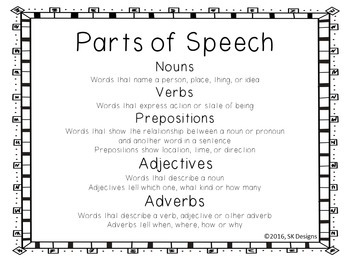 Back to School Grammar Part of Speech Fun Picture Review and Practice