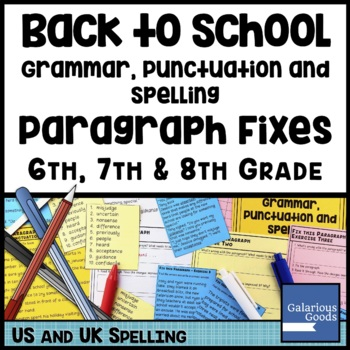 Back to School Grammar Punctuation and Spelling Paragraph Fixes