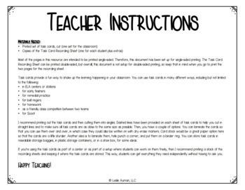Back to School Grammar Task Cards