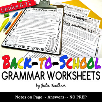 Back to School Grammar Worksheets, NO PREP, Middle and High School