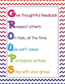 Freebie - Back to School - Group Rules - Chevron - Colorful - Classroom Decor