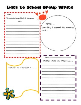 Back to School Group Write