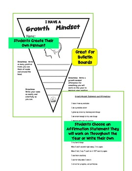 Back to School Growth Mindset Pennants