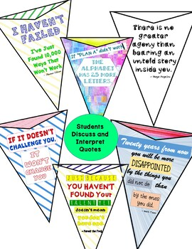 Back to School Growth Mindset Pennants Perfect for Bulletin Boards