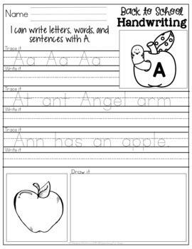 Back to School Handwriting Printables