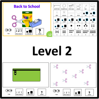 Back to School HOW MANY, WHAT SIZE, WHAT? Adapted book level 1, 2 and 3