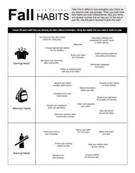 Back to School Habit Formation Goal Setting & Calendar
