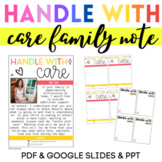 Back-to-School Handle with Care Family Note Classroom Comm