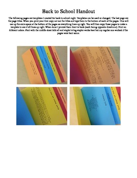 Back to School Handout Template